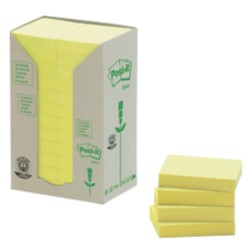 Post-it 653-1T Gerecyclede notes Geel Blanco niet geperforeerd 51 x 38 mm 38 x 51 mm 70 g/m² 24 stuks à 100 vellen