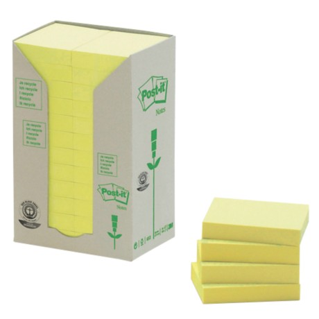 Post-it 653-1T Recycled notes Geel Blanco 51 x 38 mm 38 x 51 mm 70 g/m² 24 stuks à 100 vellen