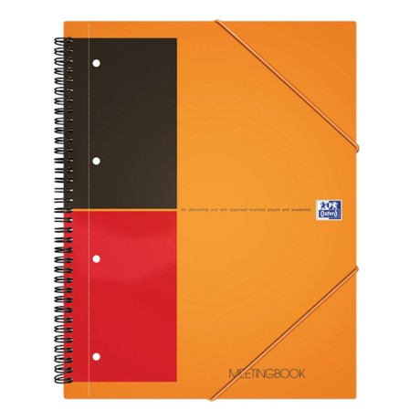 OXFORD International Meetingbook Spiraalblok Oranje Gelinieerd A5+ 80 g/m²