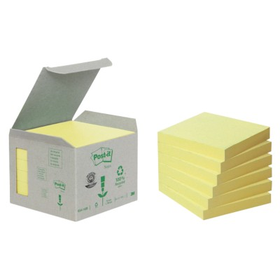 Post-it Recycled notes 76 x 76 mm Geel 6 Stuks à 100 Vellen