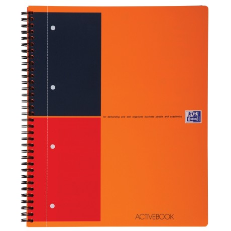OXFORD International activebook Spiraalblok Oranje Gelinieerd A4+ 80 g/m² 4-gaats Pak 5