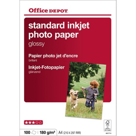 Office Depot Inkjet fotopapier A4 glanzend 180 g/m² 210 x 297 mm Wit 100 vel