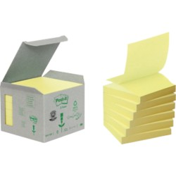 Post-it Mini-Tower Gerecyclede Z-notes Geel Blanco niet geperforeerd 76 x 76 mm 76 x 76 mm 70 g/m² 6 stuks à 100 vellen