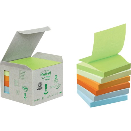Post-it Gerecyclede Z-Notes Kleurenassortiment Blanco niet geperforeerd 76 x 76 mm 76 x 76 mm 70 g/m² 6 stuks à 100 vellen