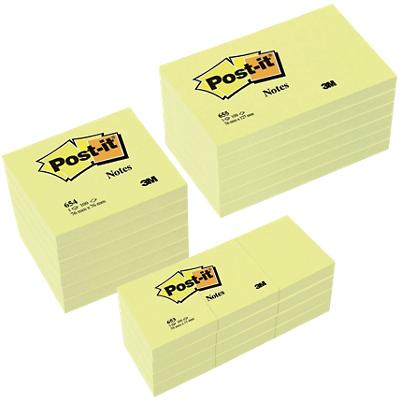 Post-it Notes Assortiment maten (76 x 76 mm, 127 x 76 mm, 51 x 38 mm) Canary Yellow Geel 100 Vellen Voordeelpak 12 + 12 GRATIS