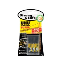 UHU Superlijm Super Strong & Safe Minis Transparant 1 g Pak van 3