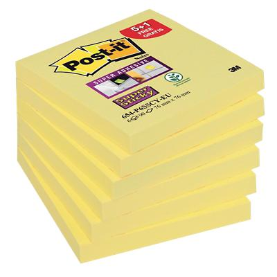 Post-it Super Sticky Notes 76 x 76 mm Geel 6 Stuks à 90 Vellen
