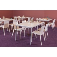 Schaffenburg Kantinetafel Domino Basic Wit, aluminium 1.200 x 800 x 740 mm