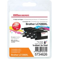 Office Depot Compatibel Brother LC1280XL Inktcartridge Zwart, cyaan, magenta, geel 4 Stuks