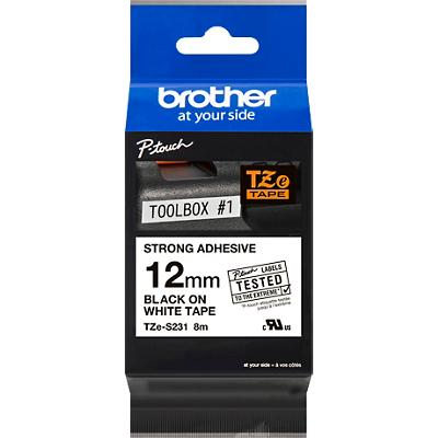 Brother TZe Labeltape TZe--S231 Zwart op Wit 12 mm x 8 m