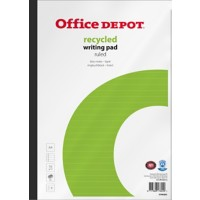 Office Depot Recycled Notitieblok Wit, groen Gelinieerd A4 21 x 31,5 cm 70 g/m² 80 Vel