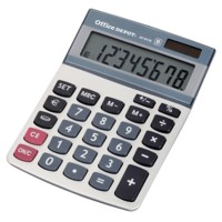 Office Depot Bureaurekenmachine AT-812E 8-cijferige display Zilvergrijs