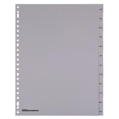 Office Depot Tabbladen A4 Grijs 12 tabs 23-gaats polypropyleen jan - dec