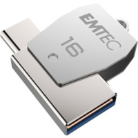 EMTEC USB-stick T250C MOBILE & GO 2-in-1 16 GB Zilver