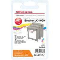 Office Depot Compatibel Brother LC1000 Inktcartridge 3 Kleuren 3 Stuks