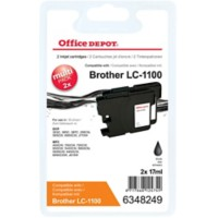 Office Depot Compatibel Brother LC1100BK Inktcartridge Zwart 2 Stuks