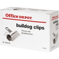Office Depot Bulldog Papier Clips 100mm Zilver Pak van 6