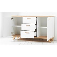 GERMANIA Commode Oslo Eiken/Wit 144 x 40 x 87 cm