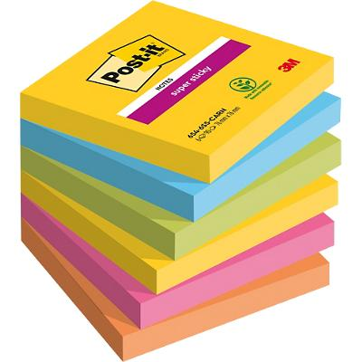 Post-it Super Sticky Notes 76 x 76 mm Rio Kleuren 6 Blokken van 90 Vellen