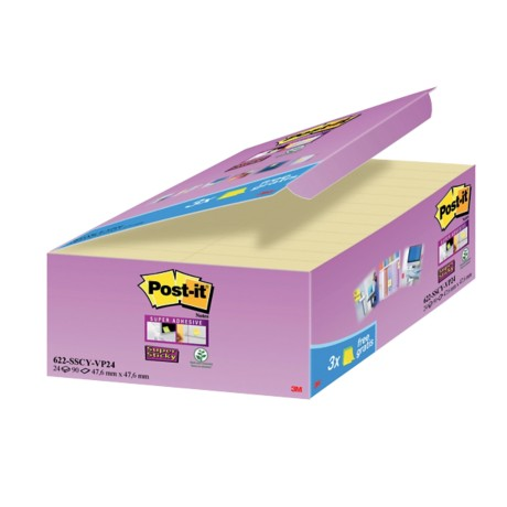 Post-it Super sticky Zelfklevende notes Kanariegeel Blanco niet geperforeerd 76 x 48 mm 70 g/m² 24 stuks à 90 vellen