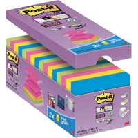 Post-it Super Sticky Z-Notes 76 x 76 mm Neon Kleuren 90 Vellen Voordeelpak 14 + 2 GRATIS