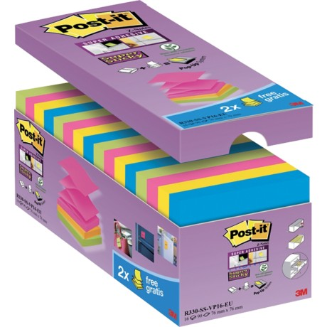 Post-it Zelfklevende notes 76 x 76 mm Kleurenassortiment 16 Stuks à 90 Vellen