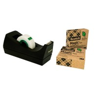 Scotch Plakbandafroller C38 Zwart + 3 rollen Scotch Magic A Greener Choice Tape Plakband Onzichtbaar mat 19 mm x 33 m