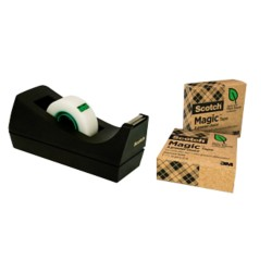 Scotch C38 Magic Plakbandhouder Zwart + 3 gratis rollen scotch a greener choice tape 1,9 cm