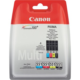 Canon CLI-551 Origineel Inktcartridge Zwart, Cyaan, Magenta, Geel 4 Stuks