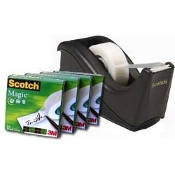 Scotch Magic Plakbandhouder Zwart inclusief: 4 x rollen magic 810