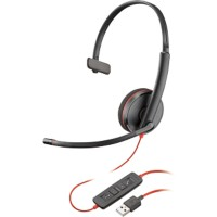 Plantronics Blackwire 3210 UC Headset met kabel zwart