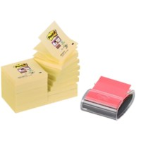 Post-it Super Sticky Z-Notes 76 x 76 mm Canary Yellow Geel Voordeelpak 16 Blokken van 90 Vellen + GRATIS Pro Dispenser Zwart