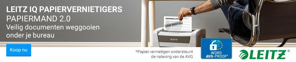 Veilig documenten weggooien onder je bureauLeitz IQ Papiervernietigers Papiermand 2.0 Koop nu
