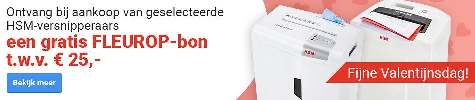 Fijne Valentijnsdag! Ontvang bij aankoop van geselecteerde HSM-versnipperaars een gratis FLEUROP-bon t.w.v. € 25,-