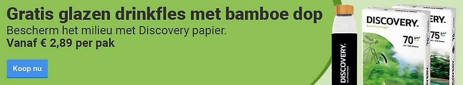 Gratis glazen drinkfles met bamboe dop