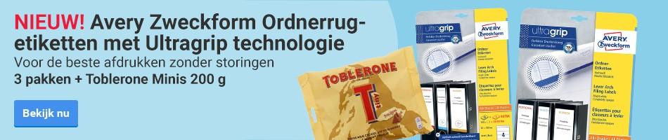 NIEUW! Avery Zweckform ordnerrugetiketten met Ultragrip technologie. Voor de beste afdrukken zonder storingen. 3 pakken + Toblerone Minis 200 g