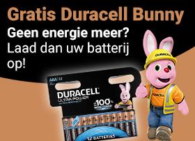 Gratis Duracell Bunny! Geen energie meer? Laadt dan uw batterij op!